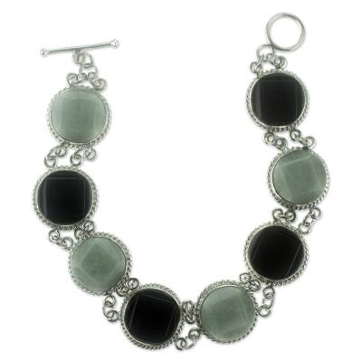 Black and Green Jade Bracelet Silver Artisan Jewelry