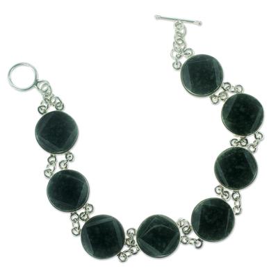 Artisan Crafted Black Jade and Sterling Silver Bracelet