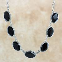 Black jade pendant necklace, 'Ya'ax Chich Mystique' - Black Jade Bracelet Sterling Silver Artisan Jewelry