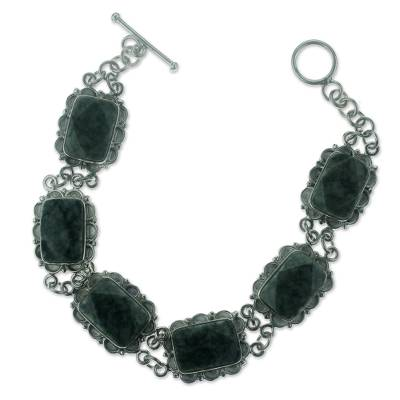 Artisan Crafted Jade and Sterling Silver Bracelet