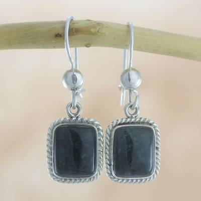 Jade dangle earrings, 'Divine Darkness' - Handmade Guatemalan Dark Green Jade Earrings
