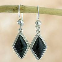 Jade dangle earrings, 'Dark Diamond' - Guatemalan Dark Green Jade Earrings