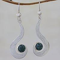 Jade dangle earrings, 'Dark Vision Serpent' - Hand Made Silver and Dark Green Jade Dangle Earrings