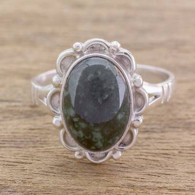 birthstone rings garnet - Guatemalan Hand Crafted Dark Green Jade Ring