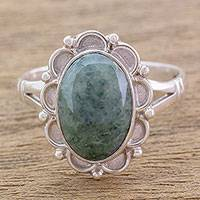 Jade cocktail ring, 'Dahlia' - Guatemalan Hand Crafted Light Green Jade Ring