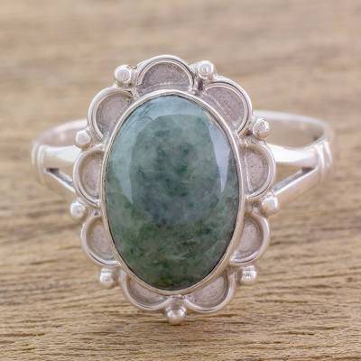 silver band ring womens overalls - Guatemalan Hand Crafted Light Green Jade Ring