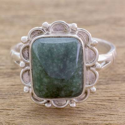Jade cocktail ring, 'Maya Zinnia' - Guatemalan Dark Green Jade Cocktail Ring