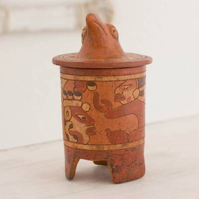 Ceramic vessel, 'Pibil Falcon' (medium) - Antiqued Ceramic Vessel Maya Art (medium)