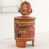 Ceramic vessel, 'Pibil Man' (large) - Antiqued Ceramic Vessel Handcrafted Maya Art
