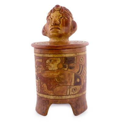 Antiqued Ceramic Vessel Handcrafted Maya Art