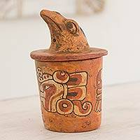 Ceramic vessel, 'Pibil Falcon' (small) - Antiqued Ceramic Jar Maya Art