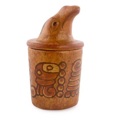 Antiqued Ceramic Jar Maya Art