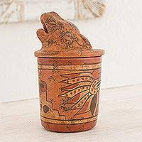 Ceramic vessel, 'Pibil Jaguar' (small) - Handcrafted Antiqued Ceramic Jar Maya Art