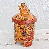Ceramic vessel, 'Pibil Jaguar' (large) - Antiqued Ceramic Vessel Maya Art (large)