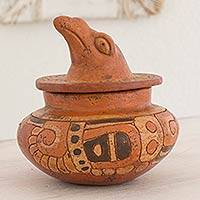 Ceramic vessel, 'Pibil Falcon' - Antiqued Ceramic Bowl Maya Art