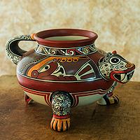 Ceramic decorative vessel, 'Charotega Jaguar' - Handcrafted Jaguar Ceramic Pottery from Nicaragua