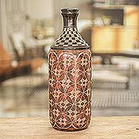 Ceramic decorative vase, 'Floral Chess' - Hand Crafted Ceramic Bottle Vase from Nicaragua