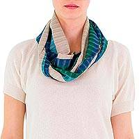 Cotton infinity scarf, 'Verdant Comalapa Breeze' - Green Beige Handcrafted Cotton Infinity Scarf