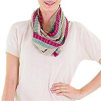 Cotton infinity scarf, 'Maroon Comalapa Breeze' - Handcrafted Cotton Infinity Scarf
