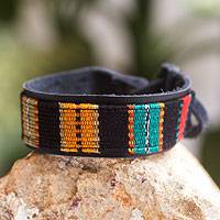 Men's leather and cotton wristband bracelet, 'Dawn' - Men's Leather Black and Multicolor Handwoven Bracelet