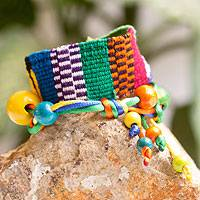 Cotton wrap bracelet, 'Hummingbird' - Guatemalan Handwoven Cotton Bracelet with Beads