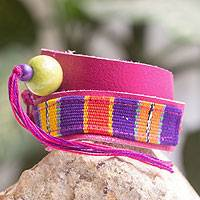 Leather and cotton wrap bracelet, 'Bright Jaguar' - Multicolor Backstrap Woven Cotton Wrap Bracelet