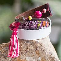 Leather and cotton wrap bracelet, 'Harmony and Peace' - Leather and Cotton Wrap Bracelet