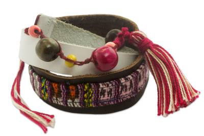 Leather and Cotton Wrap Bracelet