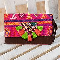 Cotton and leather wristlet bag Fuchsia Wonderland Guatemala