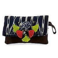 Cotton and leather wristlet bag, 'Navy Wonderland' - Hand-woven Cotton and Leather Folding Wristlet Bag