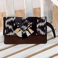 Cotton and leather wristlet bag, 'Lunar Wonderland' - Hand-woven Cotton and Leather Folding Wristlet Bag