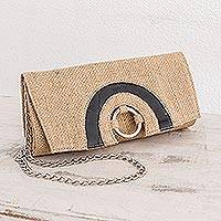 Jute clutch handbag, 'Navigator' - Hand Crafted Jute Clutch with Optional Shoulder Chain