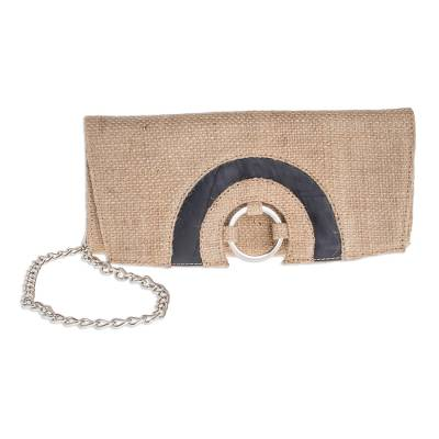 Hand Crafted Jute Clutch with Optional Shoulder Chain