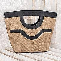 Jute handbag, 'Salvador Nature in Black' - Jute with Recycled Tire Handbag