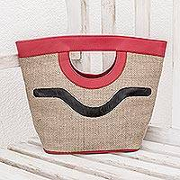 Jute handbag, 'Salvador Nature in Red' - Jute with Recycled Tire Handbag