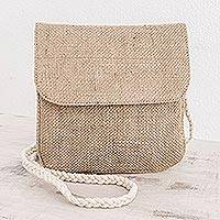 Jute shoulder bag, 'Nature's Details' - Trendy Jute Shoulder Bag with Cotton Strap