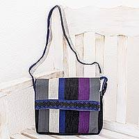 Cotton messenger bag, 'Luscious Gray' - Multi-Colored Hand Loomed Cotton Messenger Bag