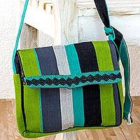 Cotton messenger bag, 'Luscious Green' - Handcrafted Cotton Messenger Bag Lined