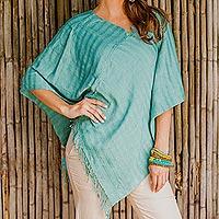 Cotton poncho, 'Organic River' - Organic Dyes Handwoven Cotton Poncho