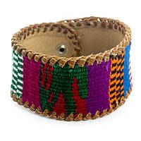 Men's leather and cotton wristband bracelet, 'Joy' - Men's Leather and Maya Handwoven Bracelet
