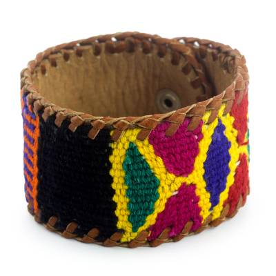 Leather Bracelet with Maya Weaving