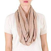 Cotton infinity scarf, 'Coffee au Lait' - Natural Brown Cotton Infinity Scarf
