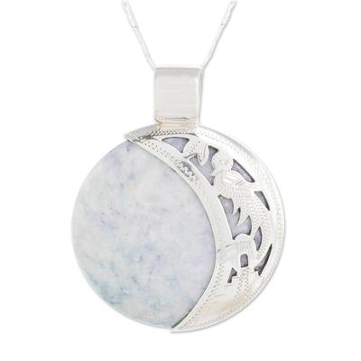 Maya Eclipse Lilac and Black Jade Pendant Necklace