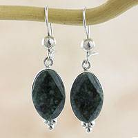 Jade dangle earrings, 'Three Desires' - Modern Handmade Faceted Green Jade Earrings