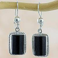 Black jade dangle earrings, 'Night Monument' - Handmade Guatemalan Black Jade Earrings