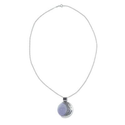 Medium Maya Eclipse Lilac and Black Jade Silver Necklace