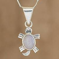 Lilac jade pendant necklace, 'Lilac Marine Turtle' - Artisan Crafted Lilac Jade Turtle Necklace
