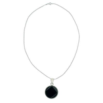 Black Jade Medallion Sterling Silver Necklace