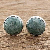 Jade stud earrings, 'Harmonious Peace' - Round Jade Stud Earrings in Sterling Silver