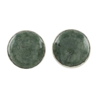 Round Jade Button Earrings on Sterling Silver